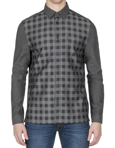 Ben Sherman Checkered Cotton Sport Shirt-BLACK-X-Large