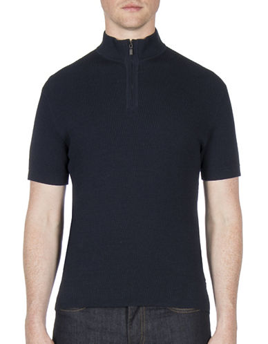 Ben Sherman Future Mod Funnel Neck Knitted Tee-NAVY-Small