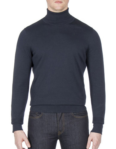 Ben Sherman The Finge Gauge Cotton Turtleneck-BLUE-Medium