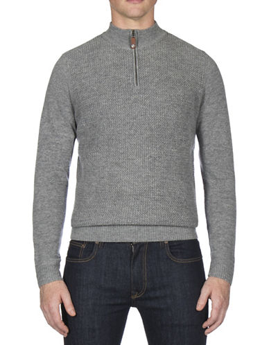 Ben Sherman Textured Funnel Neck Wool-Blend Sweater-GREY-Large