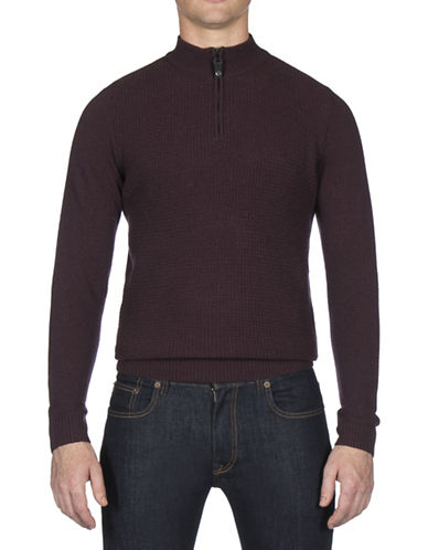 Ben Sherman Textured Funnel Neck Wool-Blend Sweater-PURPLE-Large