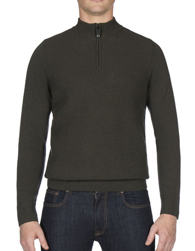 Ben Sherman Textured Funnel Neck Wool-Blend Sweater-GREEN-Small