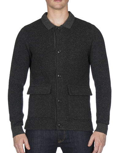 Ben Sherman Birdseye Jacquard Wool-Blend Worker Jacket-BLACK-Medium