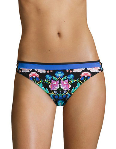 Nanette Lepore Charmer Damask Floral Swim Briefs-MULTICOLORED-Large