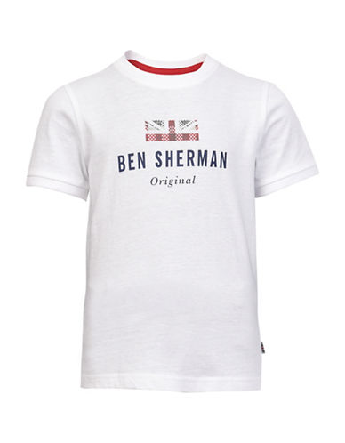 Ben Sherman Logo Carrier Cotton T-shirt-WHITE-14