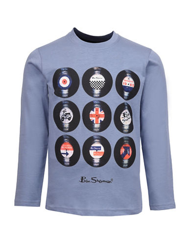 Ben Sherman Retro Vinyl Long Sleeve Cotton Tee-BLUE-12-13