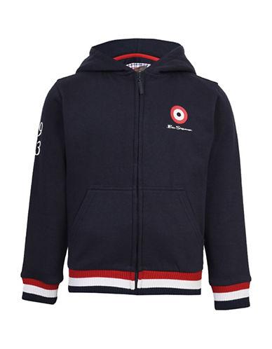 Ben Sherman Brush Back Hooded Jacket-BLUE-8-9