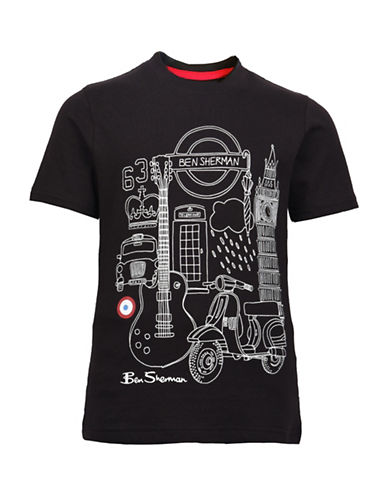Ben Sherman Hand Drawn London Tee-BLACK-3-4