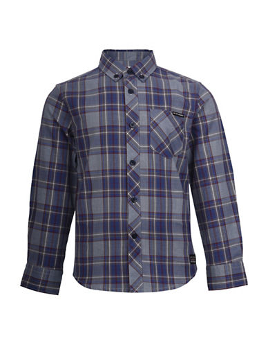 Ben Sherman Marled Plaid Sport Shirt-BLUE-8-9