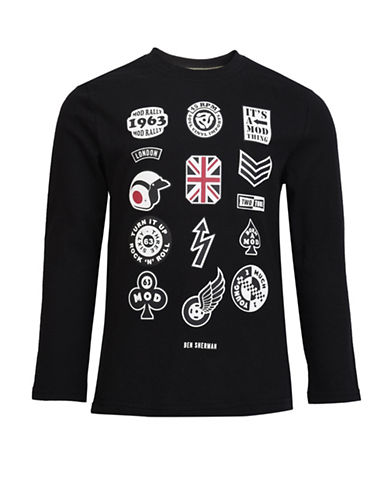 Ben Sherman Mod Long-Sleeve Cotton T-Shirt-BLACK-8-9