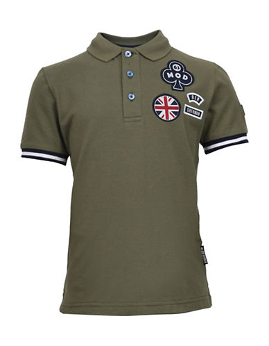 Ben Sherman Badge Pique Cotton Polo-GREEN-12-13