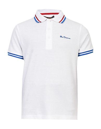 Ben Sherman Pique Cotton Polo-WHITE-12-13