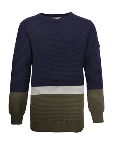 Ben Sherman Colourblock Crew Neck Jumper-BLUE-8-9