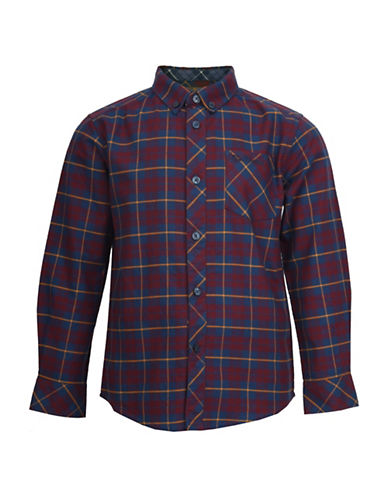 Ben Sherman Brushed Check Cotton Oxford Shirt-RED-10-11