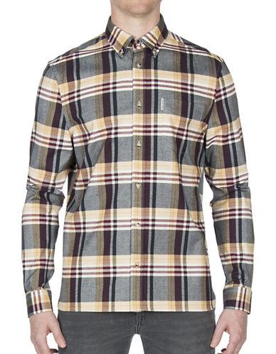 Ben Sherman Plaid Cotton Casual Button-Down Shirt-WHITE-Medium