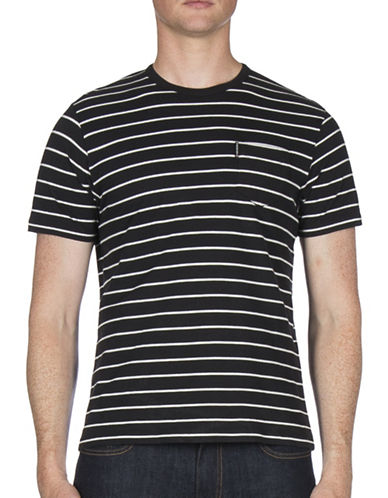Ben Sherman Fine Stripe Cotton Tee-BLACK-X-Large