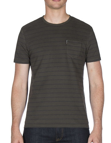 Ben Sherman Fine Stripe Cotton Tee-GREEN-X-Large 89622210_GREEN_X-Large
