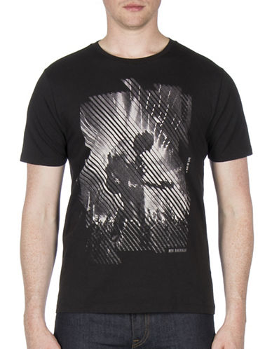 Ben Sherman Guitarist Strike Through Cotton Tee-BLACK-Large