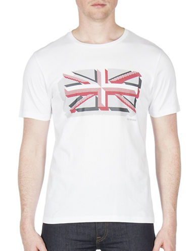 Ben Sherman Textured Union Print Cotton Tee-WHITE-Small