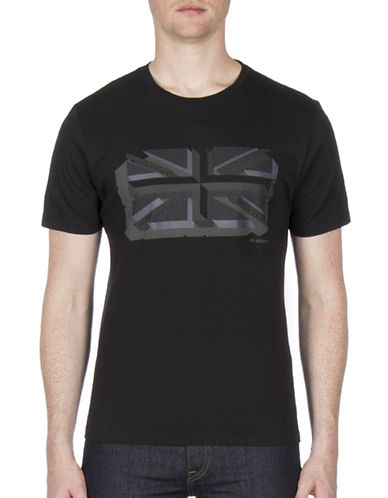 Ben Sherman Textured Union Print Cotton Tee-BLACK-Small