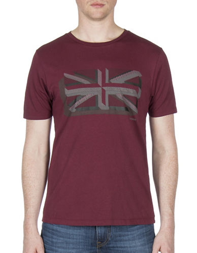 Ben Sherman Textured Union Print Cotton Tee-WINE-XX-Large