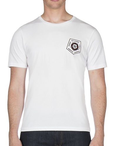 Ben Sherman Badge Back Print Cotton Tee-WHITE-X-Large