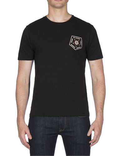 Ben Sherman Badge Back Print Cotton Tee-BLACK-Small