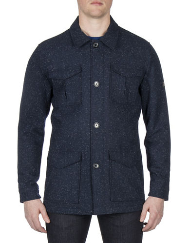 Ben Sherman Modern Dandy Wool-Blend Workwear Mac Jacket-BLUE-Small