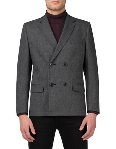 Ben Sherman Wool-Blend Double-Breasted Blazer-BLACK-44 Tall