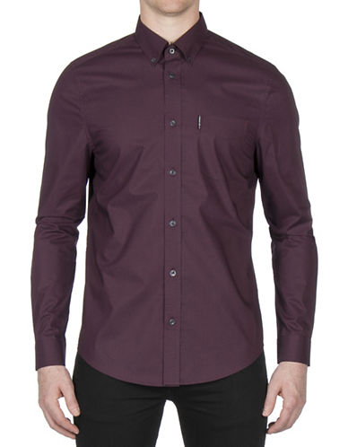 Ben Sherman Micro Diamond Cotton Sport Shirt-PURPLE-Medium