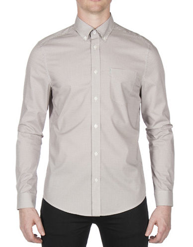 Ben Sherman Micro Diamond Cotton Sport Shirt-WHITE-Medium