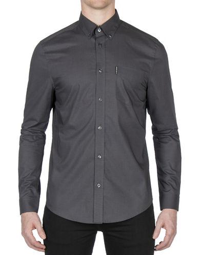Ben Sherman Micro Diamond Cotton Sport Shirt-DARK GREY-Medium