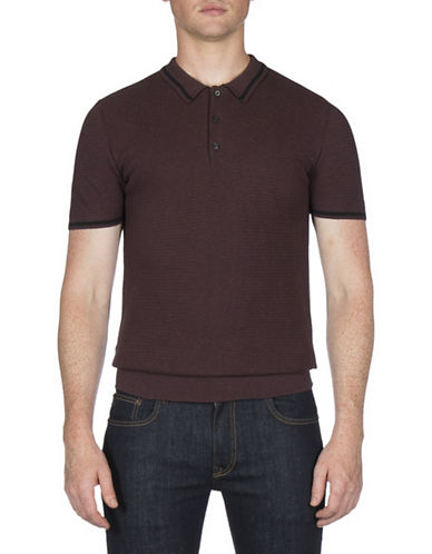 Ben Sherman Textured Cotton Knit Polo-GREY-Large