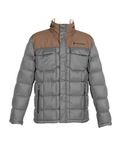 Free Country Down Jacket with Sherpa Lining-GREY-X-Large