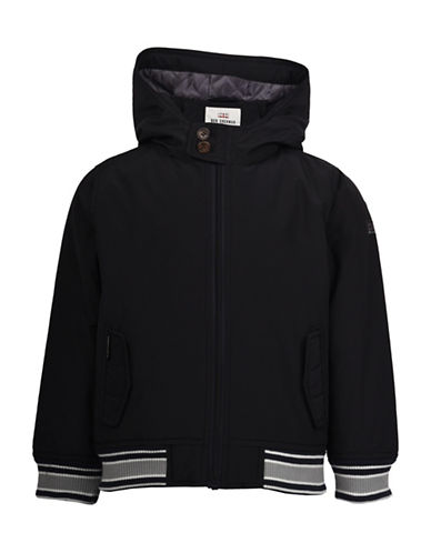 Ben Sherman Harrington Hooded Jacket-BLACK-3-4