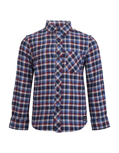 Ben Sherman Brushed Gingham Cotton Collared Shirt-BLUE-6-7