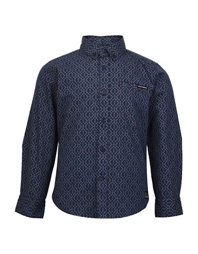 Ben Sherman Geo Cotton Sport Shirt-BLUE-3-4