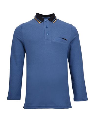 Ben Sherman Pique Long-Sleeve Cotton Polo-BLUE-4-5