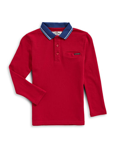 Ben Sherman Pique Long-Sleeve Cotton Polo-RED-6-7