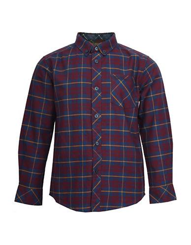 Ben Sherman Brushed Check Cotton Oxford Shirt-RED-3-4