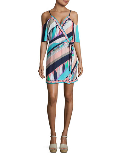 Trina Turk Electric Wave Cold-Shoulder Cover-Up Tunic-MULTI-Large