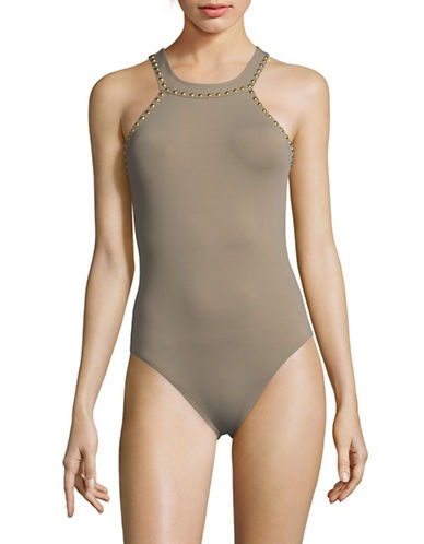La Blanca Studded O-Ring High Neck One-Piece Swimsuit-PEBBLE-14