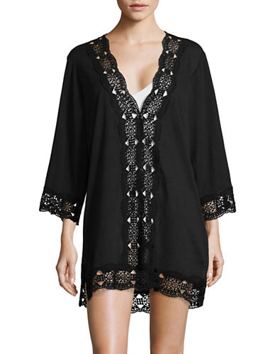 La Blanca Crochet V-Neck Cover-Up Tunic-BLACK-Large