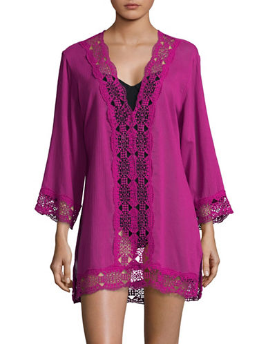 La Blanca Crochet V-Neck Cover-Up Tunic-MAGENTA-Medium