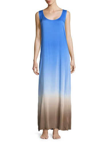 La Blanca Dip-Dye Maxi Cover-Up Dress-BLUE SUEDE-X-Large