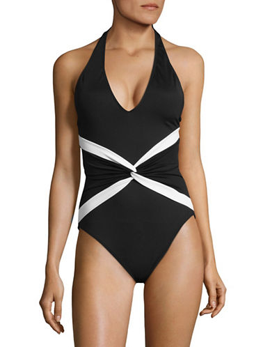 Lauren Ralph Lauren One-Piece Plunge Twist Halter Swimsuit-BLACK-10