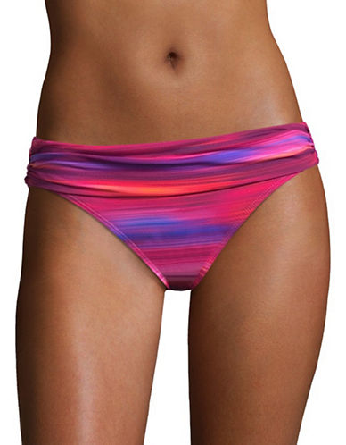 Lauren Ralph Lauren Classic Shirred Banded Hipster Swim Bottoms-PINK MULTI-14