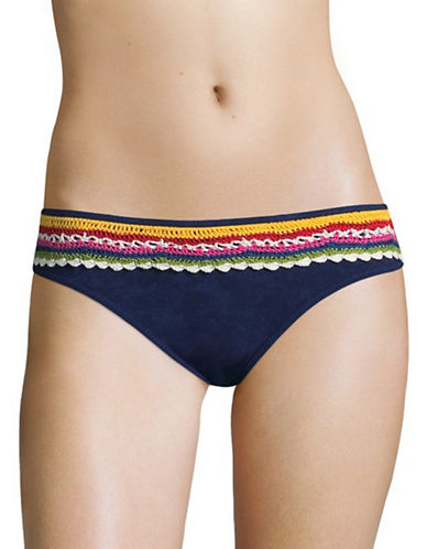 Nanette Lepore Charmer Crochet Hipster Swim Bottoms-DENIM-Large