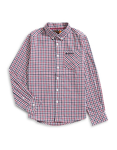 Ben Sherman Plaid Cotton Collared Shirt-BLUE-8-9