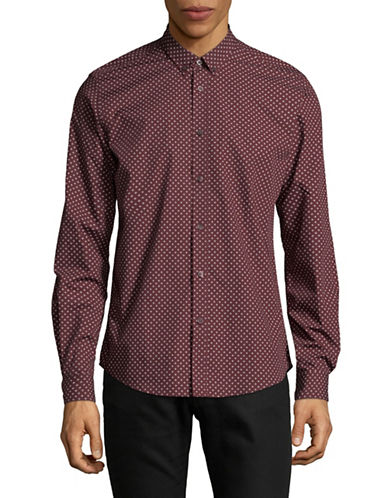 Ben Sherman Diamond Dot Sport Shirt-BROWN-X-Large